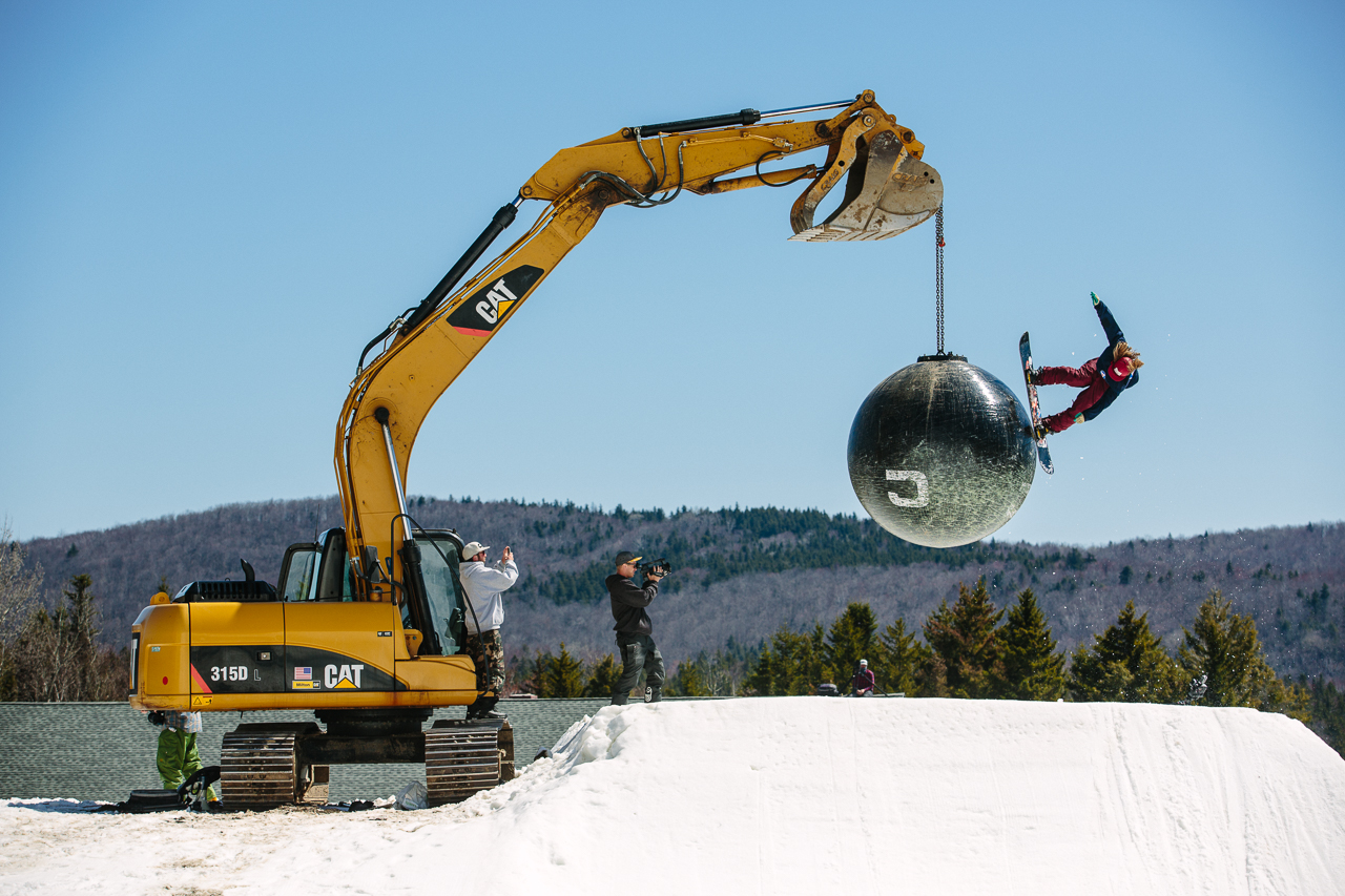 Brian Skorupski hits a feature at Mount Snow in Vermont on a snowboard