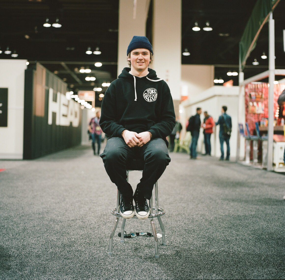 Line Skis athlete Charlie Dayton at the Colorado Snow Show