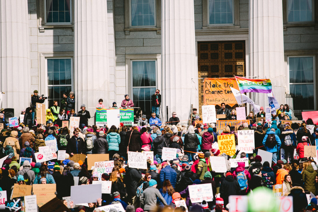 The crowd at March for Our Lives March in Montpelier, VT