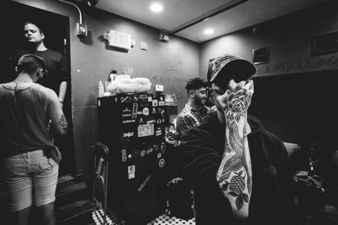 Joe Mulherin aka nothing, nowhere behind the scenes at their Middle East show in Cambridge, MA