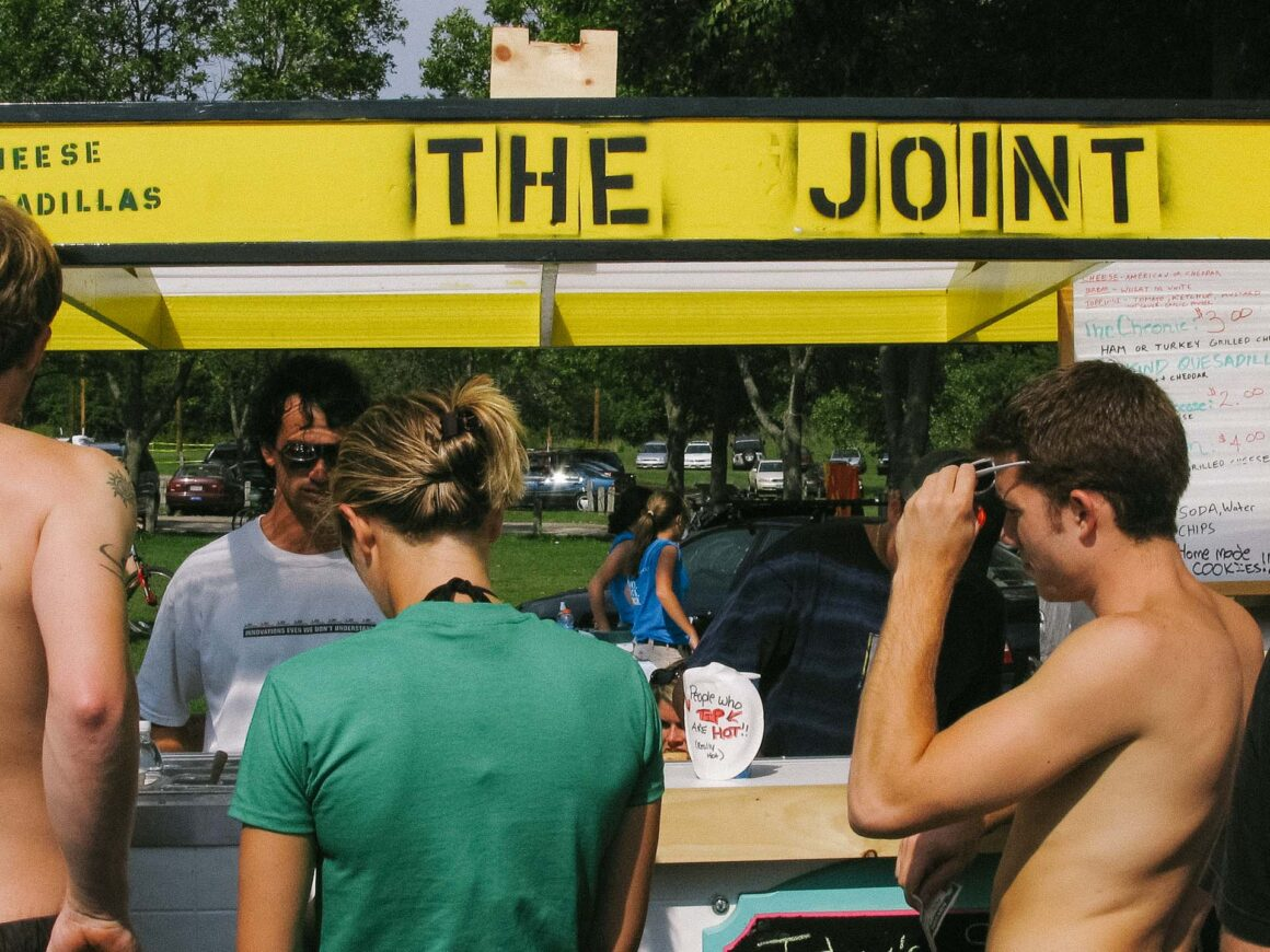 """Jason Levinthal with grilled cheese stand, """"The Joint"""" at North Beach in Burlington, Vermont"""