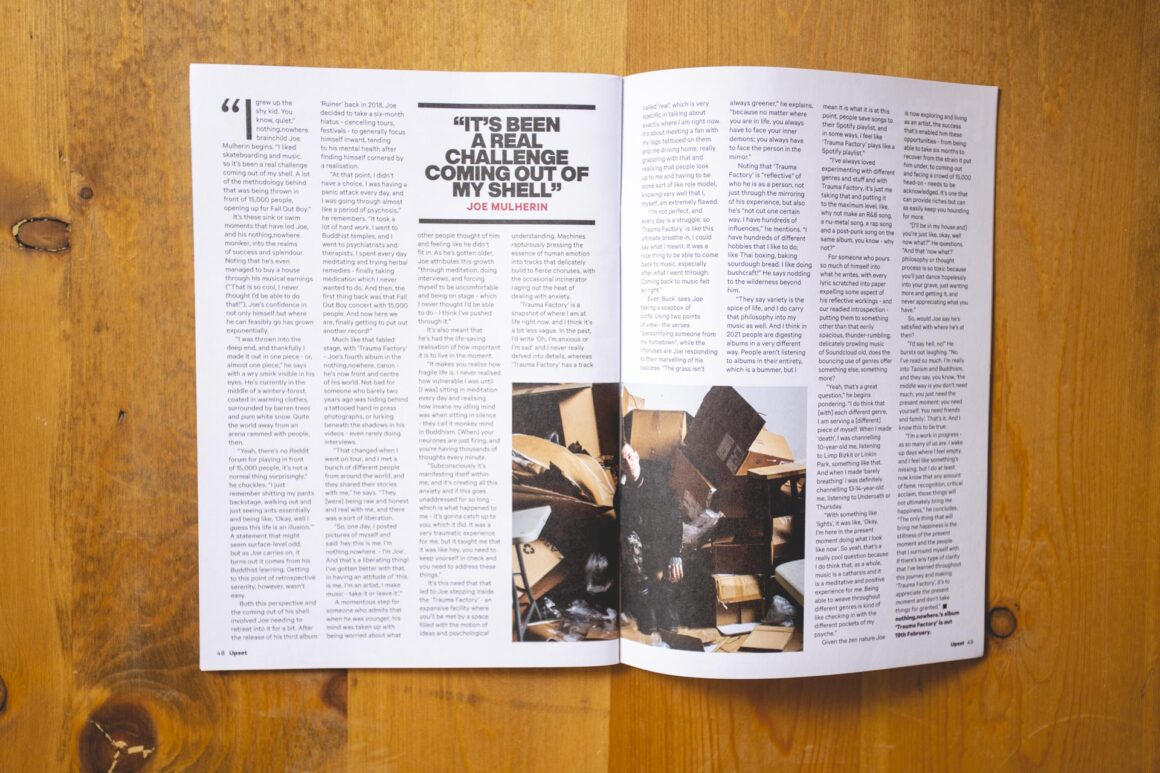 Nothing Nowhere featured in Upset Magazine issue 63. Interviewed by Steven Loftin